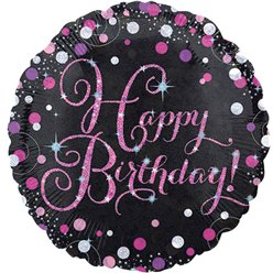 Happy Birthday Roze Glitter Felicitatie Ballon - 46 cm Folie