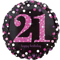 Happy Birthday 21e Verjaardag Roze Glitterfeest Ballon - 46 cm Folie