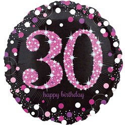 Happy Birthday 30e Verjaardag Roze Glitterfeest Ballon - 46 cm Folie
