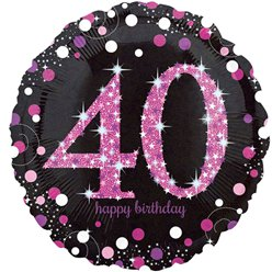 Happy Birthday 40e Verjaardag Roze Glitterfeest Ballon- 46 cm Folie