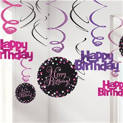 Roze Glitterfeest Happy Birthday Hangende Swirls - 45 cm