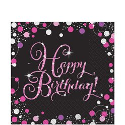Roze Glitterfeest Happy Birthday Lunch Servetten - 2-laags Papier