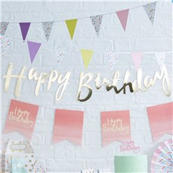 Pick & Mix Happy Birthday Gouden Letter Vlaggenlijn - 1.5m
