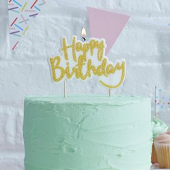 Pick & Mix Gouden Glitter Happy Birthday Kaars - 10 cm