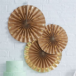 Pick & Mix Metallic Stippen Papieren Waaier Decoraties - 36 cm
