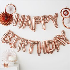 Pick & Mix Roze Gouden 'Happy Birthday' Ballon Slinger - 1.5m