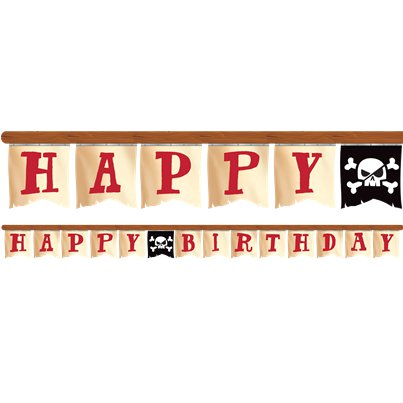 Piratenschat Happy Birthday Banner - 2.6m