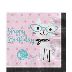 Purr-fect Feest 'Happy Birthday' Lunch Servetten - 33 cm