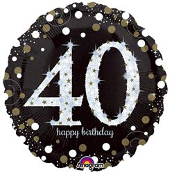 Happy Birthday 40e Verjaardag Glitterfeest Ballon - 46 cm Folie