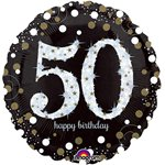 Happy Birthday 50e Verjaardag Glitterfeest Ballon - 46 cm Folie