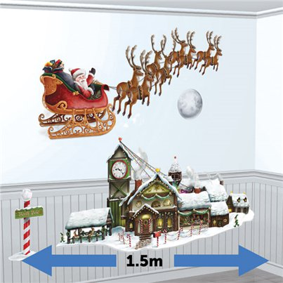 Kerstman Slee & Workshop Muurdecoraties - 1.5 m