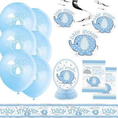 Paraplu Olifant Blauw Baby Shower Decoratie Kit