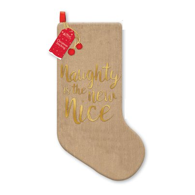 Naughty is the New Nice Jute Kerstsok - 48 cm