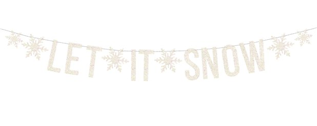 Witte Holografische Let It Snow Banner - 1.7m