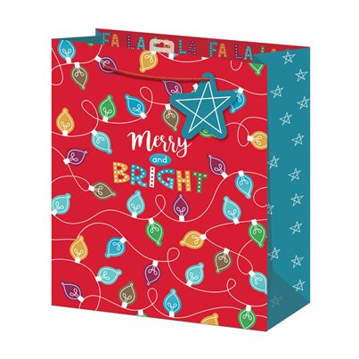 Merry and Bright Grote Kerstmis Cadeautas - 33 cm
