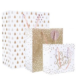Gold Glitter Christmas Gift Bag Set