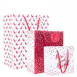 Silver Glitter Christmas Gift Bag Set
