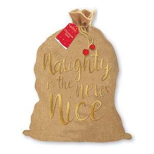 Jute Kerstmis Zak - Naughty in the New Nice - 73 cm x 50 cm