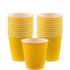 Gele Bekers - 266 ml Plastic Feestbekers